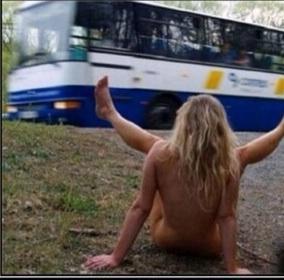 mooning bus
