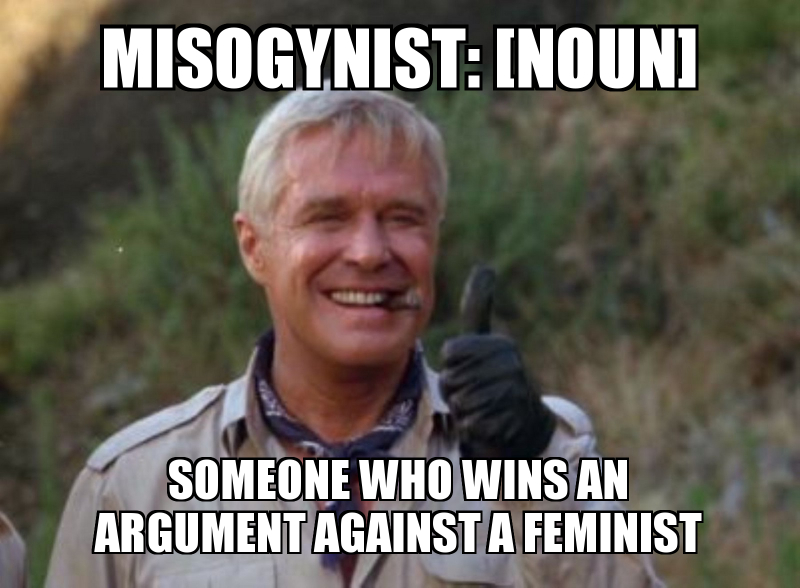 misogynist-someone who wins an argument against a feminist